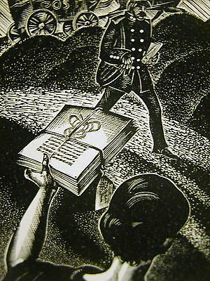 Lynd Ward 1930 WRITER SENDING BOOK to PUBLISHER Art Deco Print Matted
