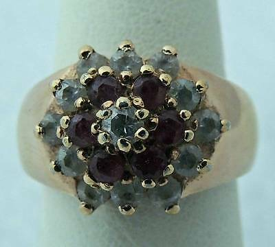 Beautiful Estate Sterling Silver Vermeil Ruby White Stone Flower Ring Band 5.75
