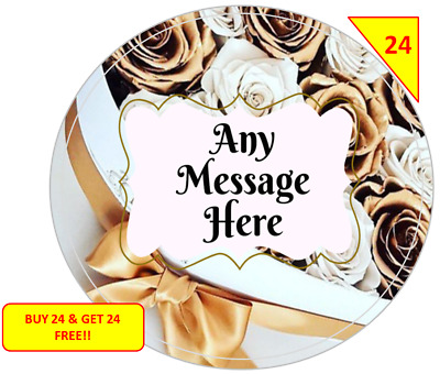 48 Personalised Wedding Birthday Hen Party Labels Stickers Gift sweet Cone Bags