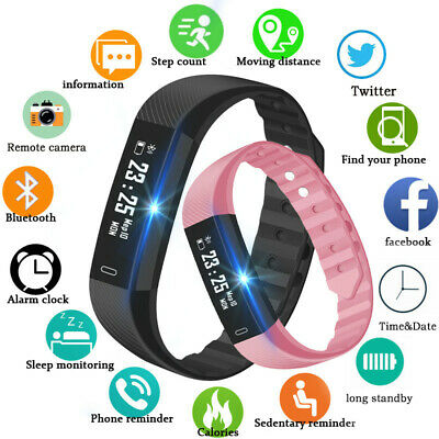 Fitness Smart Watch Band Sport Activity Tracker Fit#bit Kids Mens Android iOS UK