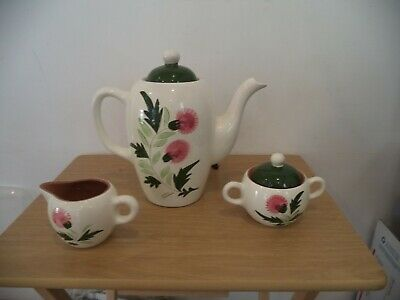 Vintage Stangl Pottery Thistle Coffee Pot WITH CREAM & LIDDED SUGAR