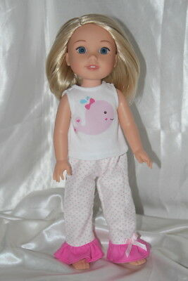 Doll Clothes fits 14inch American Girl Wellie Wishers Dress Pajamas Whales Pink