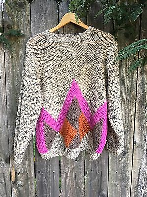 Vintage Hand Knit PATSYS PLACE Sweater Geometric Triangle Retro Large
