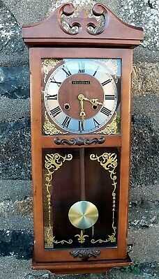 Vintage 1980s President Chiming Wind Up Working Wall Clock with Key and video