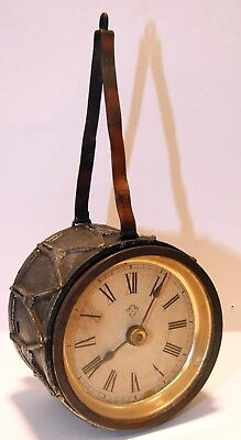 Rare Antique Ansonia Army Stacked Rifles  Novety Drum Clock Movement Running