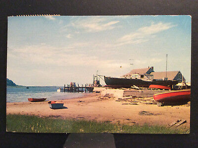 Stage Harbor Chatham Cape Cod MA Vintage Postcard Posted 1961 Beach Boats Dock