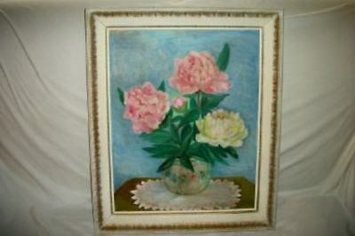 VINTAGE FLORAL OIL PAINTING PEONIES ROSES Ornate Frame Cottage Chic Shabby 1940