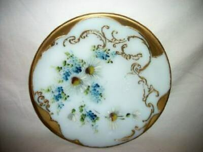 ANTIQUE VICTORIAN HP Floral Gilt MILK GLASS PLATE Daisies Forget Me Not's ORNATE