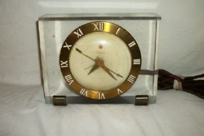 Antique Art Deco Lucite Block Brass Electric Alarm Clock Telechron Paris Apt