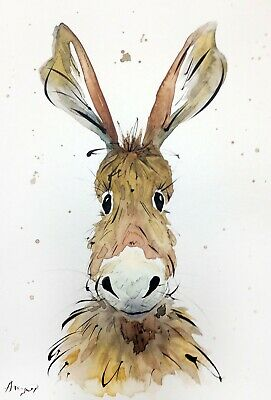 """Watercolor donkey original 8""""x11"""" animal painting abstract art by Angor"""