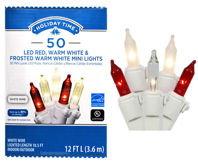 Holiday Time 50 PK RED on White Wire LED Mini Lights NEW FROSTED WARM WHITE