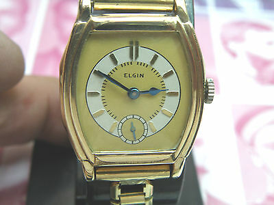 1931 Elgin Large Art Deco Stepped Case Man`s 2 Tone Watch...awesome Dial