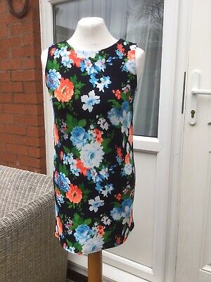 New Look 915 Generation Girls Navy And Floral Shift Dress 12-13yrs V.g.c