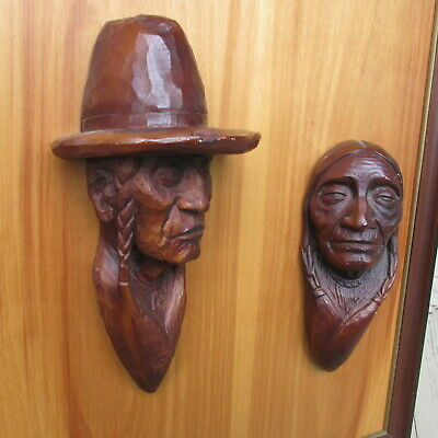 VINTAGE  CARVED WOOD INDIAN couple MORRIS BLAKE STUDIOS - HUNGRY HORSE MONTANA