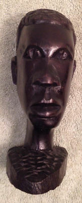 Hand Carved Wood Mans Head Dark Sculpture Figural Decor Art People Figure