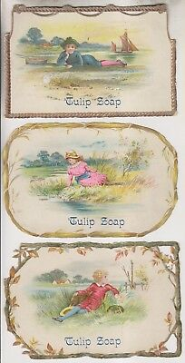 3 Vintage Embossed Trade Cards - Tulip Soap