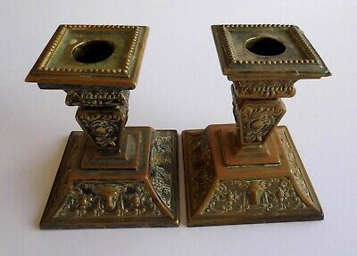 """Pair Vintage Ornate Antique Silver plated  Candlesticks - Square base  4.5""""high"""