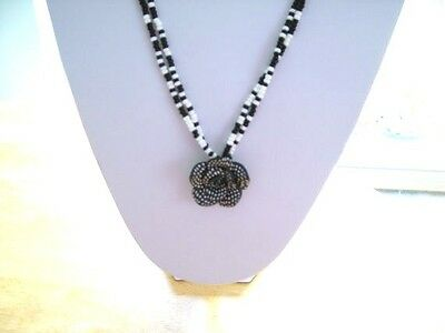 Black & White Pendant with Beaded Chain