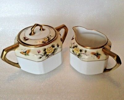 Noritake RC Nippon - Sugar And Creamer - Yellow Hand Painted Butterflies - Japan