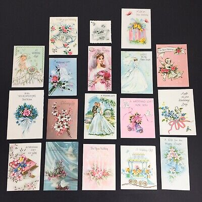 Vintage 1960s Small Wedding Gift Cards x18 ~ Assorted Designs