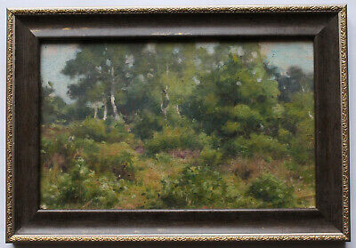 Antique 19thC Original FRENCH BARBIZON OIL PAINTING LANDSCAPE Birch Grove Signed