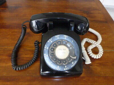 Black Rotary Desk Telephone Western Electric Bell Systems-Working-With Jack