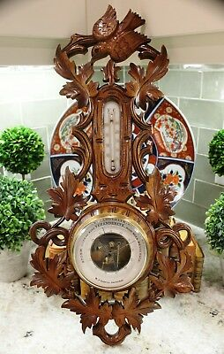 Antique French Barometer Thermometer BLACK FOREST Carved Oak Bird Crown