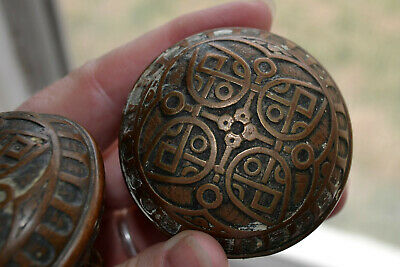 Matching Pair Antique Original Ornate Victorian Eastlake Brass Bronze Door Knobs