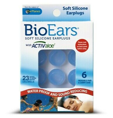 BioEars Soft Silicone Earplugs 6 Pairs for Sleeping with storage case