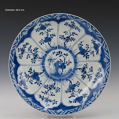 Nice large Chinese Blue & White charger, flowers, 18th ct. Kangxi period.