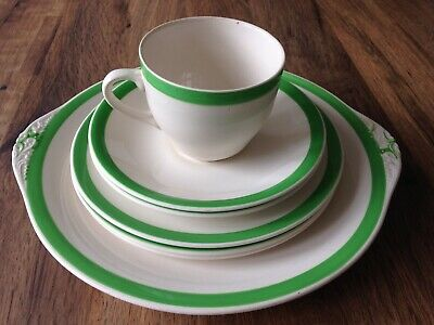 Vintage Queens Green Solian Ware Simpsons Potters Job Lot Cup and Plates 7 piece