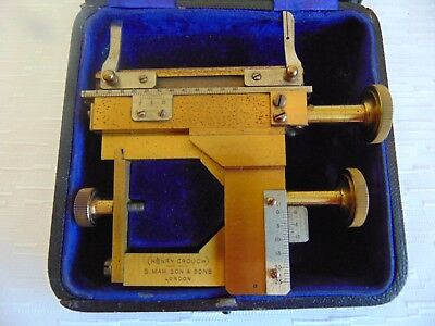 Microscope Mechanical Stage Henry Crouch S. Maw Son & Sons Brass Antique