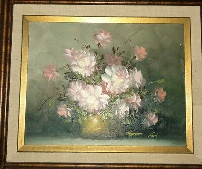 Robert Cox Still-life Flowers in Vase wood Framed Signed oil painting on Board