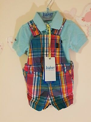 Ted Baker Baby Boys Checked Dungarees Set. 3-6 Months. Rrp £28.00. Designer