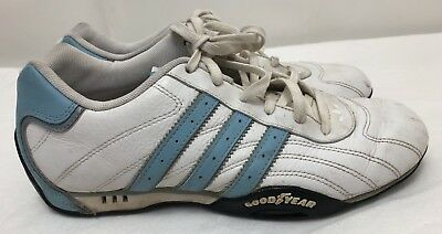 WOMENS TEAM ADIDAS Goodyear White & Blue Leather Driving Shoes Sneakers SIZE 8