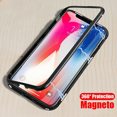 Magnetic Adsorption metal case for iphone X tempered glass cover-Sliver+Clear