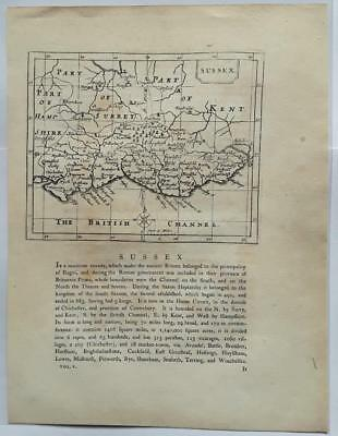 c1780s; Sussex County, England; Antique Map; John Seller/ Francis Grose