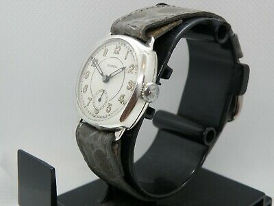 SOLID SILVER  1900`s BUREN      SOLID SILVER CUSHION MEN`s TIMEPIECE