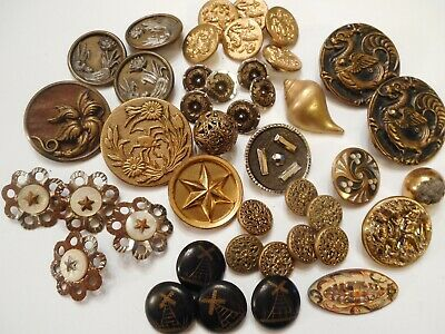 OLD COLLECTION of ANTIQUE Metal and BRASS Victorian PICTURE Clothing BUTTONS