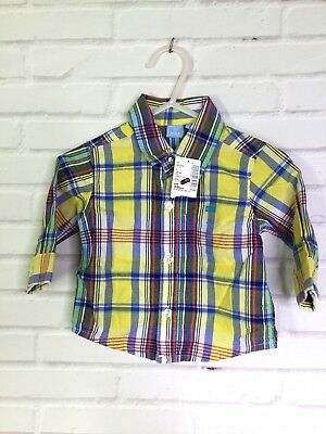 The Childrens Place Plaid Button Up Front Shirt Infant Baby Boy Size 3-6 Months