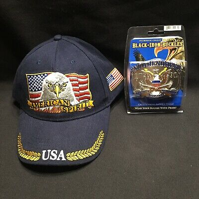 American Spirit 2nd Amendment Hat And Belt Buckle New Right To Bear Gun Rights