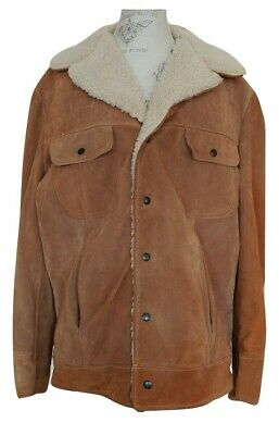47c35a658 VINTAGE JCPENNEY LEATHER Sherpa Snap Up 80's Jacket Men's 46 Minty ...