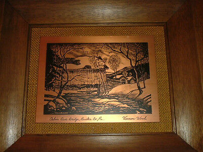 Vernon Wood - Cabin Run Bridge Lithograph On Copper Copper Ethching