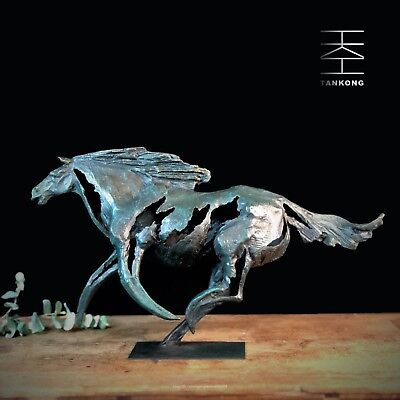Abstract Art Deco Sculpture Fast galloping horse Bronze Statue