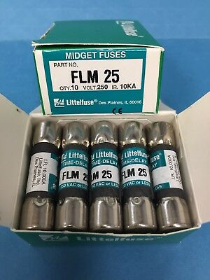 Lot of 10 Littelfuse Time-Delay Fuse Cartridges FLM25 250V 25A