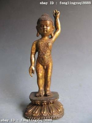 "10""Chinese Buddhism Temple Old Copper Bronze Carved Sit Boy Yu Buddha Statue"
