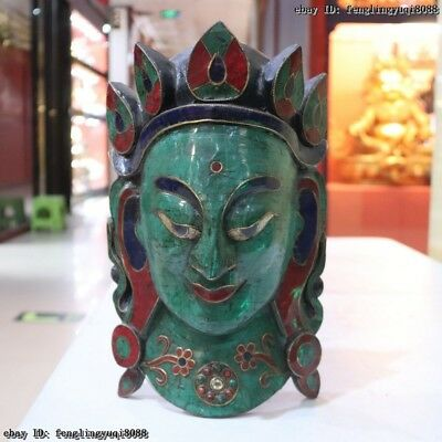 Tibet Buddhism Old Wood Inlay Turquoise Gem Kwan-Yin Buddha Head Mask Statue