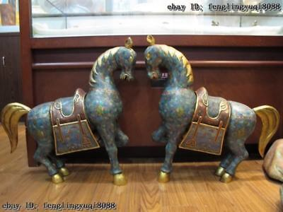 24 China Palace Copper Bronze cloisonne enamel Gild Lucky war Horse Statue Pair