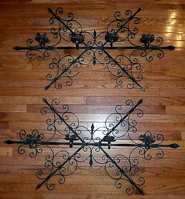HUGE Pair Antique GOTHIC Medieval Style Wrought IRON Candle holders Decor/Props