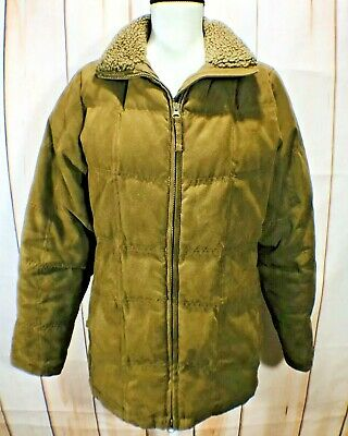 7938dc2f2 LL BEAN BROWN Faux Suede Sherpa Lined Coat Jacket Size Medium Womens ...